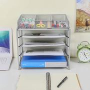 EasyPAG Mesh Office Desk Organizer 4-Tier File Holder with 3 Compartments