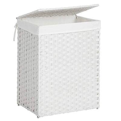 SONGMICS Handwoven Laundry Hamper, Synthetic Rattan Laundry Basket