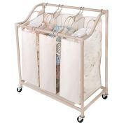 Smart Design Deluxe Rolling Triple Compartment Laundry Sorter Hampers