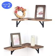 Olakee Corner Wall Shelves Rustic Wood Corner Floating Shelves