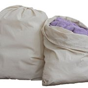"""HomeLabels Cotton Laundry Bag - 2 Pack, Natural, 30""""x 40"""" - Commercial Grade 100% Cotton, Designed for Heavy Duty Use, College Laundry Bags, Laundromat and Household Storage - Grey"""