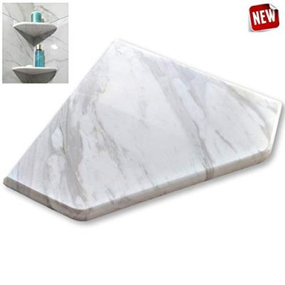 "EZ-Mount Marble Shower Corner Shelf - Wall Attached 8"" Soap Dish"