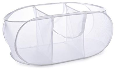 Popup Laundry Basket, Three Compartments - Durable Mesh Material