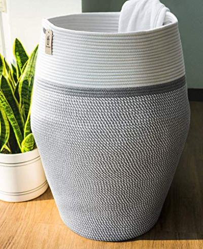 """Goodpick Laundry Hamper   Dirty Clothes Hamper   Wicker Cotton Rope Tall Laundry Basket, Modern Curver Bucket Bedroom Decort 25.6"""" Height"""