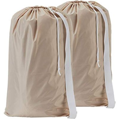 HOMEST 2 Pack XL Nylon Laundry Bag with Strap, Machine Washable Large Dirty Clothes Organizer, Easy Fit a Laundry Hamper or Basket, Can Carry Up to 4 Loads of Laundry, Beige, Patent Pending