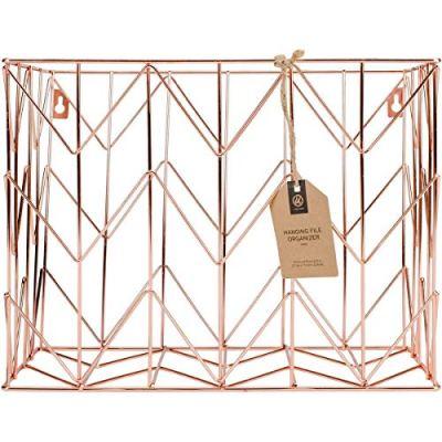 U Brands Hanging File Desk Organizer, Wire Metal, Copper/Rose Gold