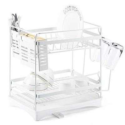 Glotoch Stainless Steel Dish Drying Rack-2 Tier Dish Rack with Utensil Holder,knife holder,Cup Holder&Cutting Board Holder and Drainboard set for Kitchen Counter,Dish Drainer Rack 14 x 9.5 x 14.5White