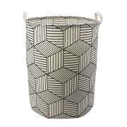 "Mziart 19.7"" Large Geometric Printed Foldable Laundry Hamper Bag Laundry Basket Sorter, Canvas Fabric Storage Basket Bin Home Organizer Containers for Nursery Baby Kids Toys (White Diamond)"
