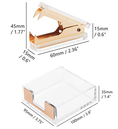 Clear Acrylic Gold Self-Stick Note Cube Holders