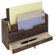 MyGift 3-Tier Coffee Brown Wood Office Desk File Organizer Mail Sorter