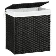 SONGMICS 110L Handwoven Laundry Basket, Synthetic Rattan Divided Clothes Hamper with Lid and Handles, Foldable, Removable Liner Bag, Black ULCB52BK