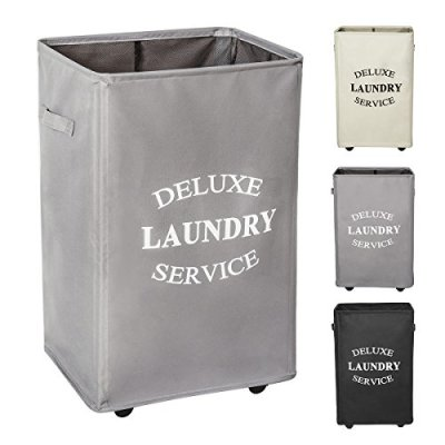 WOWLIVE Large Rolling Laundry Hamper with Wheels Collapsible Laundry Basket
