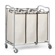 Laundry Sorter Storage Cart Removable Clothing Collection Bag Houseware Heavy-Duty Laundry Sorter Cart Chrome Portable Clothing Basket Suitable for Laundry, Bedroom
