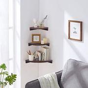 OROPY 3 Tier Radial Corner Shelves for Wall, Solid Wood Floating Corner Storage