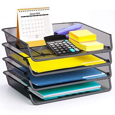 4 Pack - Simple Trending Stackable Office Desk Supplies Organizer