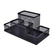 AlfOffice Desk Organizer | Black Wire mesh Desktop Organizer Caddy