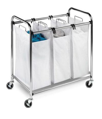 Honey-Can-Do SRT-01235 Heavy-Duty Triple Laundry Sorter, Chrome/White