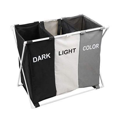 150L Laundry Cloth Hamper Sorter Basket Bin Foldable 3 Sections