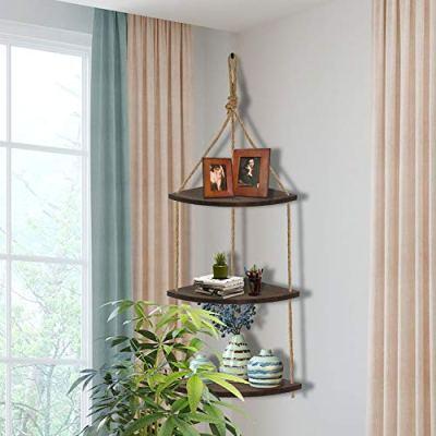 Wood Corner Shelves , Hanging Corner Shelf 3 Tier Jute Rope Wall Floating Shelves