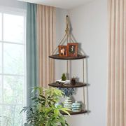 Wood Corner Shelves , Hanging Corner Shelf 3 Tier Jute Rope Wall Floating Shelves