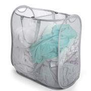 Smart Design Slim Pop-Up Laundry Hamper w/Center Divider & Portable Handles