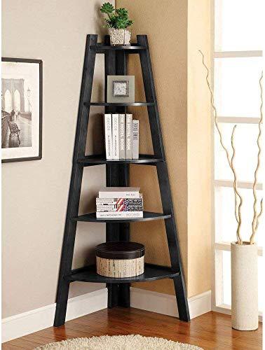 SSLine 5 Shelf Corner Bookshelf Corner Ladder Shelf Wood