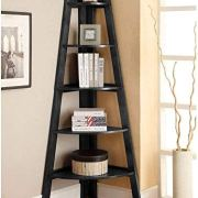 SSLine 5 Shelf Corner Bookshelf Corner Ladder Shelf Wood