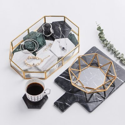 Golden Cosmetic Tray Polygon Glass Makeup Organizer