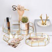 Gold Glass Cosmetic Trays Beauty Makeup Organizer Jewelry