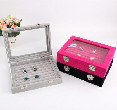 Jewelry Storage Organizer Earrings Ring Box Case