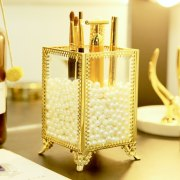 Vintage Luxury Clear Glass Makeup Organizer