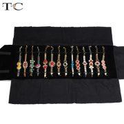 Jewelry Roll Bag Portable Carring Case Black Velvet