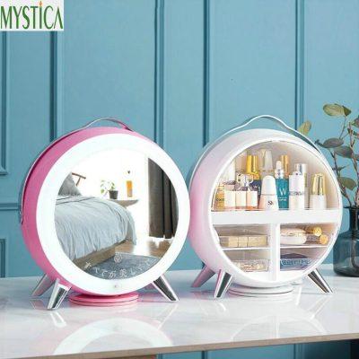 Nordic Cosmetic Storage Box Home Desktop Drawer LED