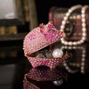 Qifu Handicraft cute pig fill of diamonds metal jewelry box