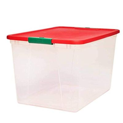 HOMZ Holiday Plastic Container Clear Storage Bin