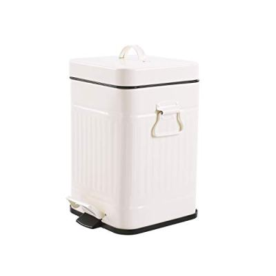 Bathroom Trash Can with Lid, Small White Wastebasket