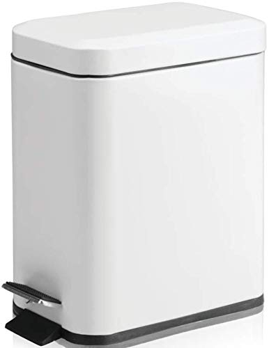 Soft Close Lid, Shiny White, Small Rectangular Trash Can
