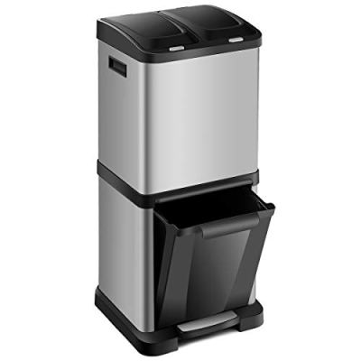 Step Trash Can 8.5 Gallons Stainless Steel Triple