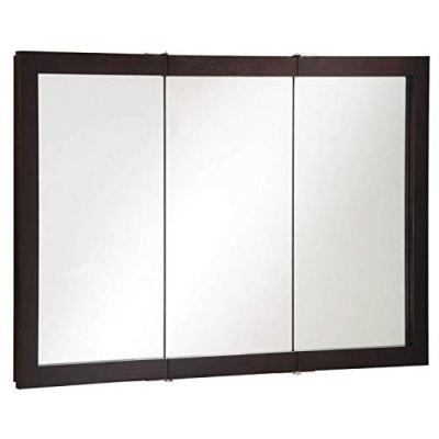 Framed Mirrored Medicine Cabinet in Espresso