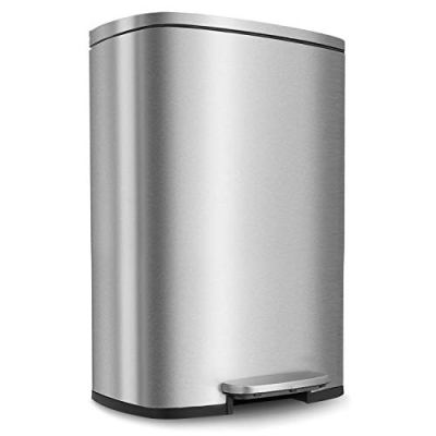 HEMBOR 13.2 Gallon(50L) Trash Can, Stainless Steel
