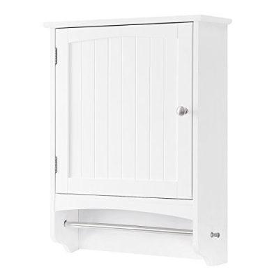 Bathroom Storage Cabinet with Rod and Adjustable Shelf