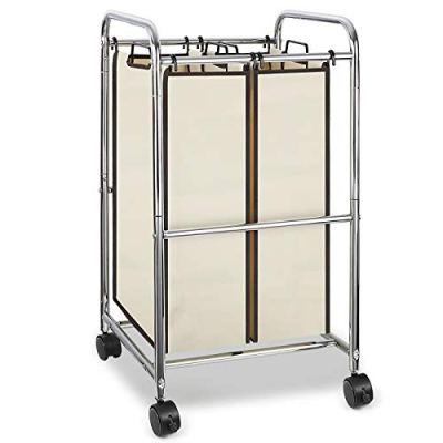 Simple Trending 2-Bag Laundry Hamper Sorter Cart