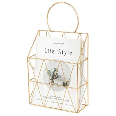 YINASI Metal Wire Magazine Holder Newspaper Organizer Storage Basket