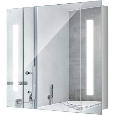 25 Inch LED Mirror Medicine Cabinet, LED Lighted Bathroom Wall Cabinet
