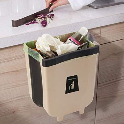 Door Hanging Garbage Can, Over The Cabinet Folding Trash