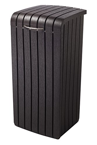 Keter Large Trash Can with Lid for Patio and Outdoor Kitchen
