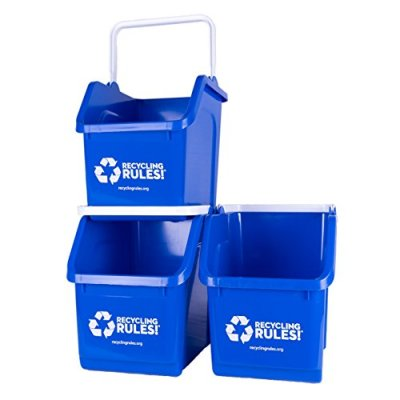 3 Pack of Bins - Blue Stackable Recycling Bin Container