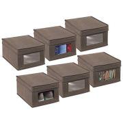 mDesign Soft Fabric Stackable Closet Storage Organizer Box