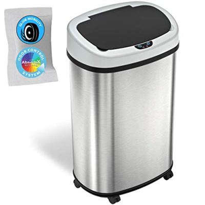 Gallon Sensor Trash Can with Wheels and AbsorbX