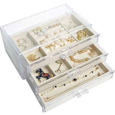Pinkpum Acrylic Jewelry Box for Women with 3 Drawer
